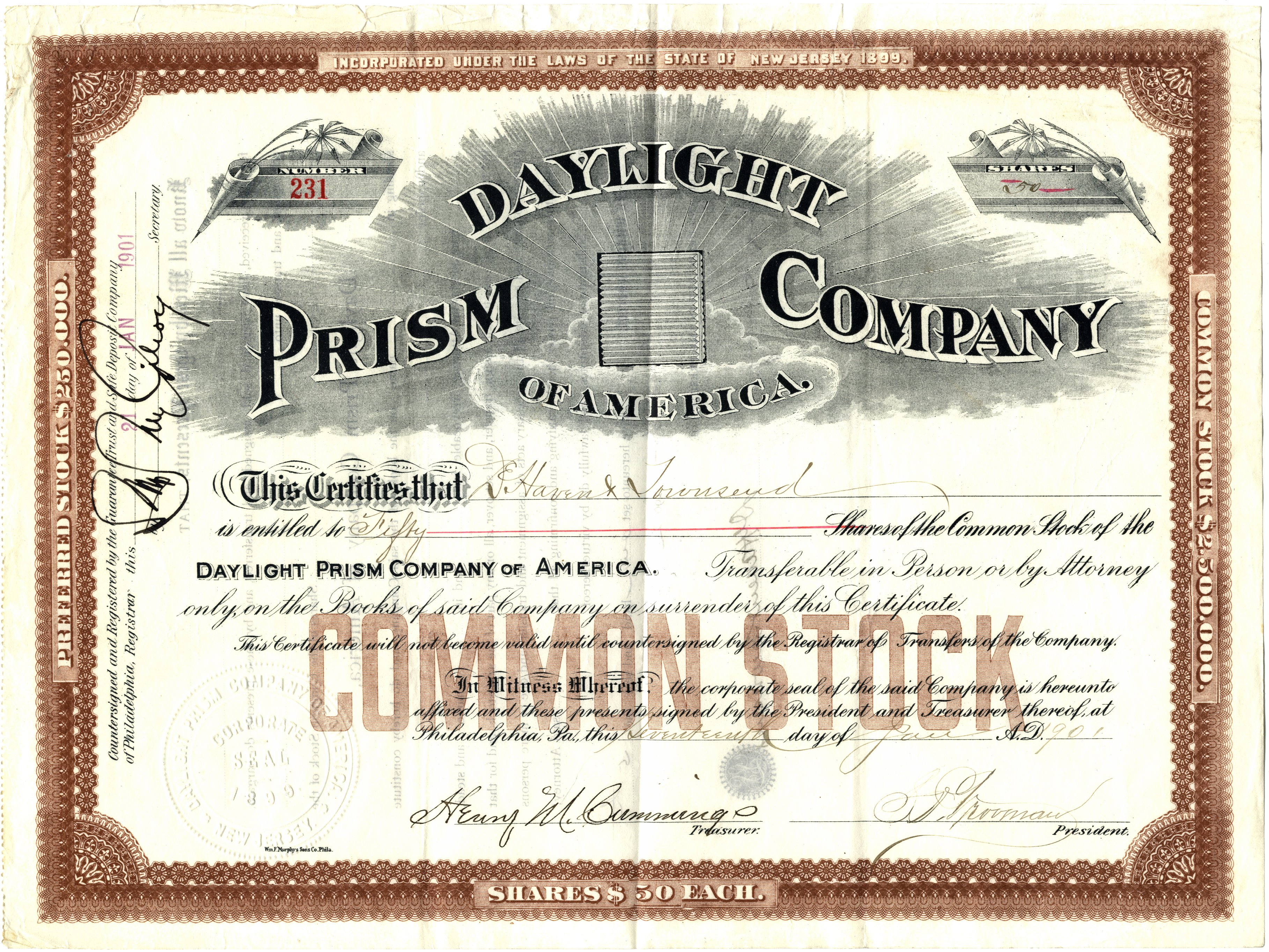 certificate daylight prism company sample shares glassian illinois