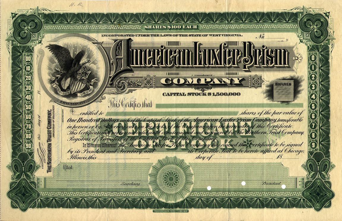 American Luxfer Prism Company Sample Stock Certificate Glassian